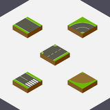 Isometric Road Set Of Without Strip, Bitumen, Turn And Other Vector Objects. Also Includes Pedestrian, Bitumen, Asphalt Stock Image