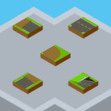 Isometric Road Set Of Unfinished, Downward, Incomplete And Other Vector Objects. Also Includes Rotation, Incomplete Stock Photography