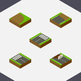 Isometric Road Set Of Unfinished, Repairs, Rotation And Other Vector Objects. Also Includes Construction, Footer, Road Royalty Free Stock Image