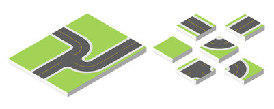 Isometric road. Vector illustration eps 10 isolated on white background. Royalty Free Stock Images