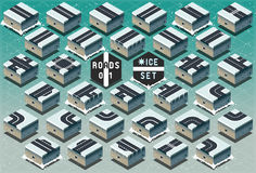 Isometric Roads on Frozen Terrain Royalty Free Stock Images