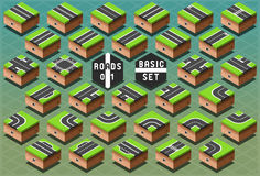 Isometric Roads on Green Terrain Stock Images