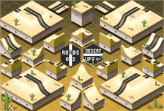 Isometric Roads on Two Levels Desert Terrain Stock Photos