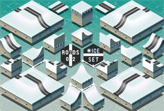 Isometric Roads on Two Levels Frozen Terrain Royalty Free Stock Photo