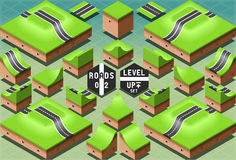 Isometric Roads on Two Levels Terrain Stock Photo