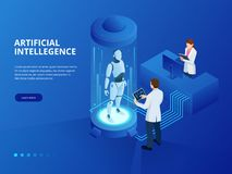 Isometric Robot with artificial intelligence. Robot cybernetic organism works with a virtual HUD interface in augmented stock illustration
