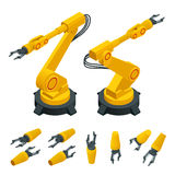Isometric robotic arm, hand, industrial robot flat vector icons set. Robotics Industry Insights. Automotive and. Electronics are top industry sectors for Stock Photography