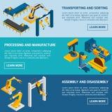 Isometric Robotic Banners Stock Photos
