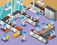 1Isometric Robotic Restaurant Composition Stock Photography