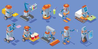 Isometric Robots Collection. With postman medical bar courier hotel service cinema cleaner builder housework mechanical robotic assistants isolated vector Royalty Free Stock Photos
