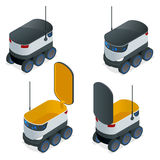 Isometric Robots Deliver Takeout Orders. It can carry up to 10 kilograms or three shopping bags and has a range of 10. Miles. Flat vector illustration Royalty Free Stock Photography