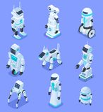 Isometric robots. Isometric robotic home assistant security robot pet. Futuristic 3d robots with artificial intelligence. Vector set of robot intelligence for vector illustration