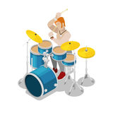 Isometric Rock Drummer Playing on Drums Royalty Free Stock Photos