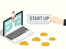 Isometric rocket fast start up launch laptop,ecommerce business start up project,businessman hand make start up flat vector. Isometric rocket fast start up royalty free illustration