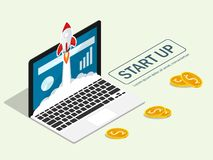 Isometric rocket fast start up launch laptop,ecommerce business start up project flat vector. Isometric rocket fast start up launch laptop,ecommerce business stock illustration