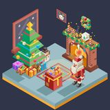 Isometric Room Cristmas New Year Santa Claus Icons Greeting Card Elements Flat Design Template Vector Illustration. Isometric Room Cristmas New Year Santa Claus Stock Photos