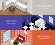 Isometric rooms with furniture. Stock Photography