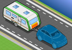 Isometric Roulotte and Car in Font View Royalty Free Stock Images