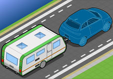Isometric Roulotte and Car in Rear View Stock Image
