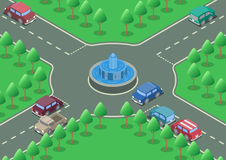 Isometric roundabout road Stock Photography