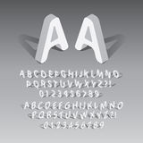 Isometric Rounded Font and Numbers Stock Images