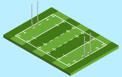 Isometric Rugby field in vector Stock Image