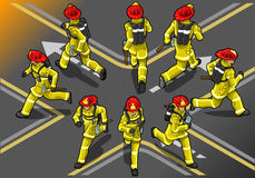 Isometric runner firefighter in eight position Royalty Free Stock Image