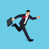 Isometric running businessman isolated on blue background. 3d businessman with a briefcase in his hand is late and in a hurry. Vector illustration Stock Images