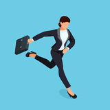 Isometric running businesswoman isolated on blue background. 3d business lady with a briefcase in her hand is late and in a hurry. Vector illustration Royalty Free Stock Image