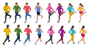 Isometric running people. Front and rear view. People are dressed in summer, winter, autumn, spring sports uniform. Healthy lifestyle and sports concepts Stock Photo