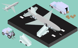 Isometric runway with airplane, stair, luggage trucks Stock Photos