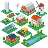 Isometric rural buildings and cottages. 3d tractor Stock Images