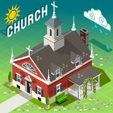 Isometric Rural Church Building Royalty Free Stock Photo