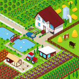 Isometric Rural Farm Agricultural Field with Animals and House. Vector 3d flat illustration Royalty Free Stock Photo