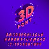 Isometric 90s font. Memphis alphabet, 80s cubic letters and typographic poster lettering sign vector. Isometric 90s font. Memphis alphabet, 80s cubic letters and stock illustration