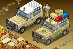Isometric Safari Jeep in Front View. Detailed illustration of a Isometric Safari Jeep with guide in front view Stock Photo
