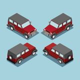Isometric safari off road car . Isometric SUV red car cross country vehicle. Royalty Free Stock Images