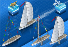 Isometric sailships in navigation Royalty Free Stock Photo