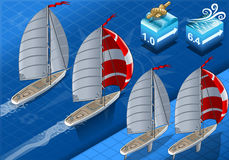 Isometric Sailships in Navigation Stock Photography