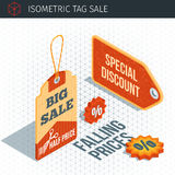 Isometric sale labels Stock Photos