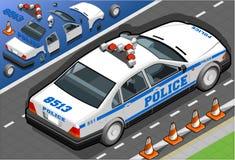 Isometric samochód policyjny w Tylni widoku Obraz Stock