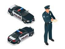 Isometric samochód policyjny z syreną i funkcjonariusz policji zaświecamy mruganie Funkcjonariusz policji w mundurze nowoczesna p ilustracja wektor