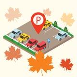Isometric samochody w samochodowym parking parking fotografia przygotowywający znak używać Miasto parking sieci wektorowego sztan obrazy royalty free