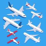 Isometric samoloty Pasażer samolotu odrzutowego samolot, intymny samolot i linia lotnicza, heblujemy Lotnictwo hebluje 3d odizolo royalty ilustracja