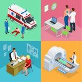 Isometric sanitariusz karetki drużyna z ambulansowym samochodem ilustracja wektor