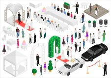 Isometric scheme of the wedding party. Isometry scheme of a wedding party. Vector graphics. A set of elements and people Stock Photos