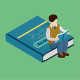 Isometric scholl flat illustration. Schoolboy sits on a textbook. Schoolboy sits on a textbook on algebra. Isometric flat illustration. Creative conceptual Royalty Free Stock Photo