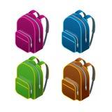 Isometric school bag.  on white background.  Royalty Free Stock Photos