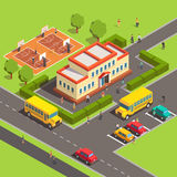 Isometric school building with people. Courtyard and front yard, parking, bus, basketball court. Flat style vector illustration  on white background Royalty Free Stock Photography