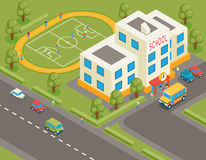 Isometric school or university vector building. 3d. Student avatar and school bus. Flat design.  Street structure, pupils and football field, tree and road Royalty Free Stock Photos
